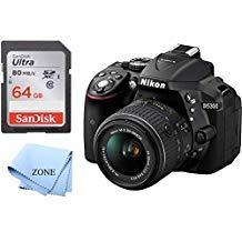 Nikon D5300 1522 Black 24.2 MP Digital SLR Camera with 18-55mm Lens +64GB SD Memory Card