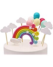Colorful Rainbow Cake Topper Birthday Wedding Cake Flags Cloud Balloon cake flag Birthday Party Baking Decoration Supplies (1)