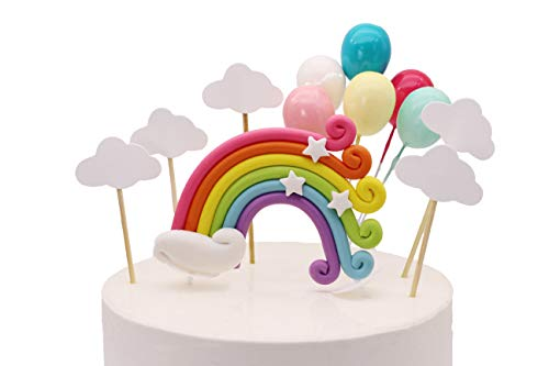 Colorful Rainbow Cake Topper Birthday Wedding Cake Flags Cloud Balloon cake flag Birthday Party Baking Decoration Supplies ()