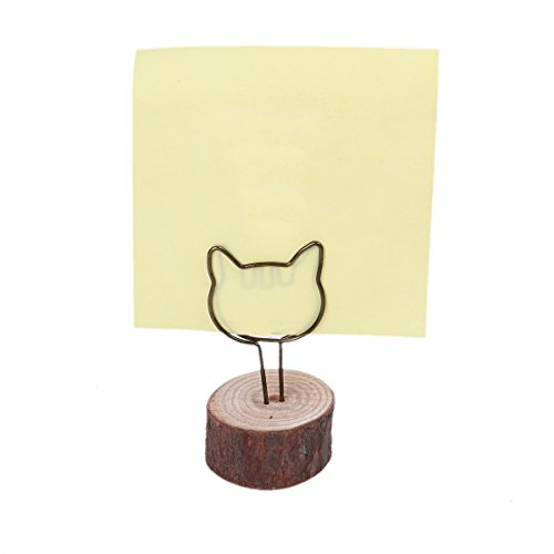 Desk Memo Clip Holder Stand Round Wood Base Antique Bronze Wedding Place Card Holders 5pcs for Picture Card Paper Note Clip Display Price Tag (Cats - Shapes Head Cat