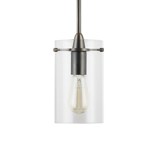 [Effimero Medium Stem Hung Clear Glass Contemporary Pendant Light. Modern Bronze Fixture with Adjustable Hanging Height. Industrial Edison Modern Style. UL Listed, Linea di Liara LL-P313-BRO] (Bronze Single Light Foyer Fixture)