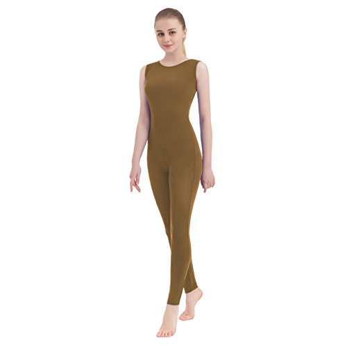 Unisex Scoop Neck Tank Top Lycra Spandex Sleeveless Unitard (X-Large, Brown)