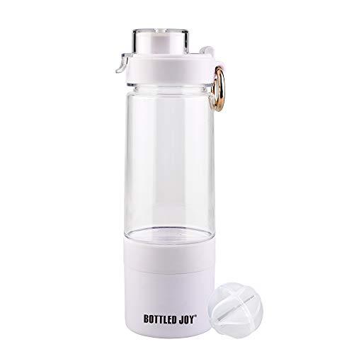BOTTLED JOY Shaker Bottle Protein Shaker Bottle for Energy Powder Water Shaker Bottle with Storage Compartments for Pill, Nut 14OZ (White)