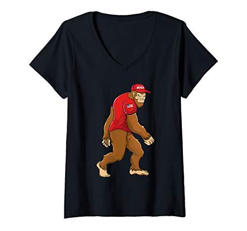 Womens Trump 2020 USA Flag Sasquatch MAGA Bigfoot V-Neck T-Shirt