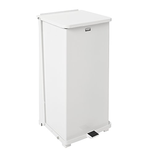- Rubbermaid Commercial ST24EPLWH Defenders Biohazard Step Can, Square, Steel, 24gal, White