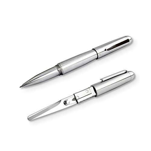 Xcissor Pen by Mininch | Multi-Tool Writing Utensil with Hidden Scissors | Optional Precision Razor Blade (Standard Set, Silver)
