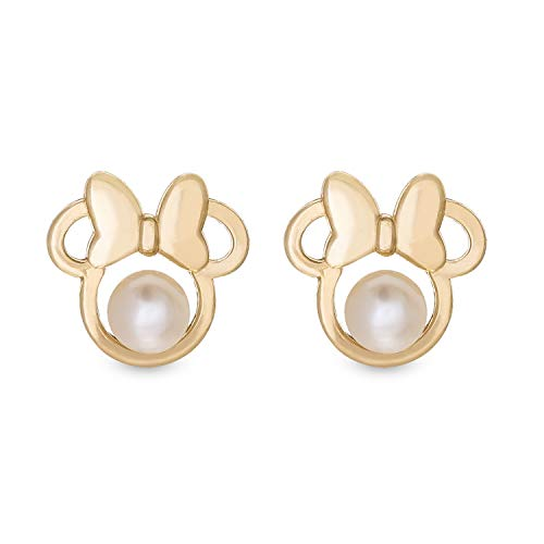 Disney Gold Jewelry for Woman and Girls, Minnie Mouse 14K Gold Pearl Stud Earrings Mickey's 90th Birthday Anniversary. ()