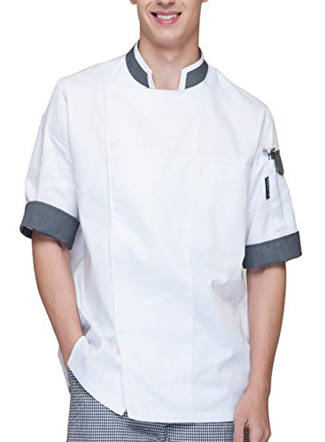 BOUPIUN Chef Coat Short Sleeve Kitchen Cook Uniform Unisex Chef Jackets
