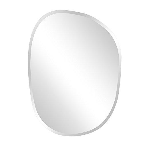 Howard Elliott Frameless Hanging Wall Mirror, Asymmetrical (18 x 24 Inch), Silver -