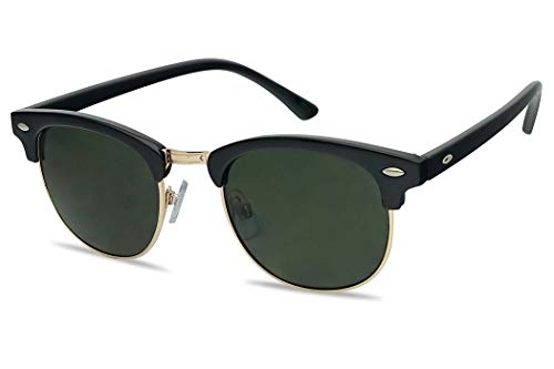 4c5b464c8 Classic Round Half Frame Horned Rim Inspired 80s Sunglasses (Black/Gold,  Green)