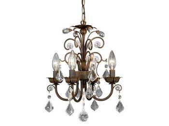 Bronze Light Chandelier Four Mini (Vaxcel USA MNCHU016AW Rovinia 4 Light Crystal Chandelier Lighting Fixture in Aged Walnut Bronze)