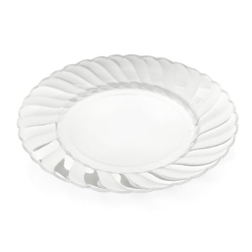 """Home Value 7.5"""" Elegant Round Plastic Dinner Plates, Clear, 120 Count"""