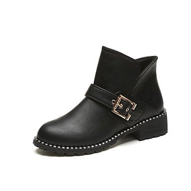 RTRY Women's Shoes Leatherette Fall Winter Fashion Boots Combat Boots Boots Chunky Heel Round Toe Booties/Ankle Boots Buckle For Casual Dress US8.5 / EU39 / UK6.5 / CN40 pFZGKh