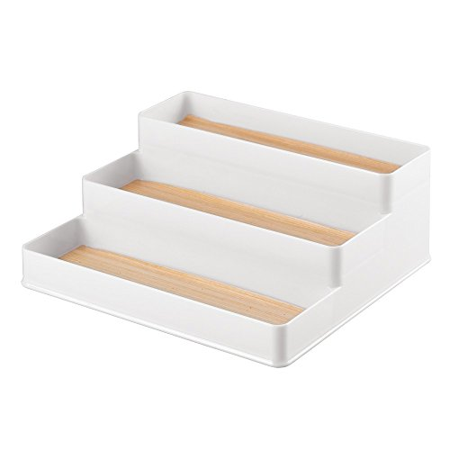 InterDesign RealWood Spice Rack Organizer for Kitchen Countertop, Cabinet, Pantry - Large, White/Light Wood ()