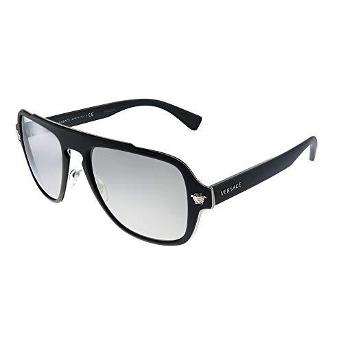 Versace Men's VE2199 Matte Black/Light Grey Mirror Silver One Size (Versace Sonnenbrillen Billig)