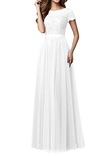 Pretygirl Womens Tulle Long Bridesmaid Dress Short Sleeves Lace Prom Evening Dresses