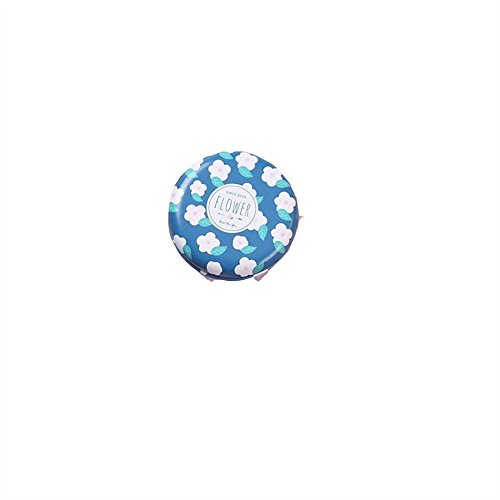 Zhahender Creative Cute Mirror Women's Accessories Mini Round Shape Small Flower Pattern Glass Mirrors Circles for Crafts Decoration Cosmetic Accessory Ink-blue by Zhahender