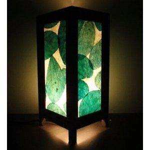 Thai Vintage Handmade Asian Oriental Green Leaf Leaves Art Zen Bedside Table Light Or Floor Wood