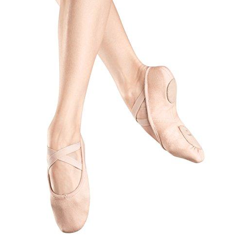 Bloch Girl's Zenith Ballet Flats, Pink Canvas, Suede, 12.5