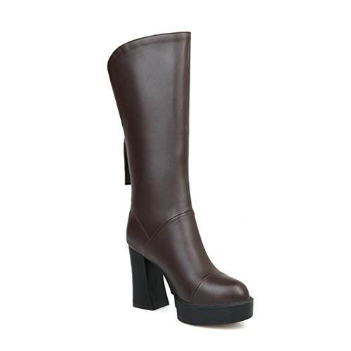 Chunky Girls Imitated Heels Platform 1TO9 Leather Back Brown Zipper Boots SpqZH