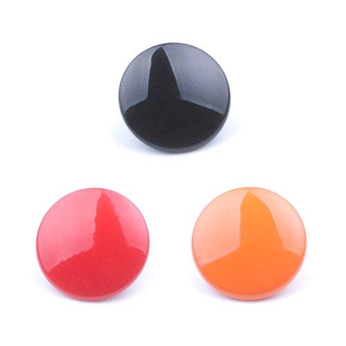(3 Pack) VKO Soft Metal Shutter Release Button Compatible for Fujifilm X-T3 X100F X-T20 X-PRO2 XPRO-1 X30 X100T X100S X-E2 X-T2 X-T10 M3 M6 M7 M8 M9 M-E Camera Black Red Orange 10mm Convex Surface
