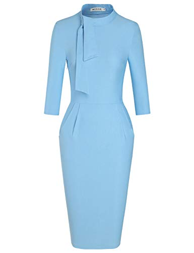 MUXXN Lady Sheer Casual Ruched Waist Pocket Semi Formal Pure Juniors Evening Dress (Airy Blue XXL) ()