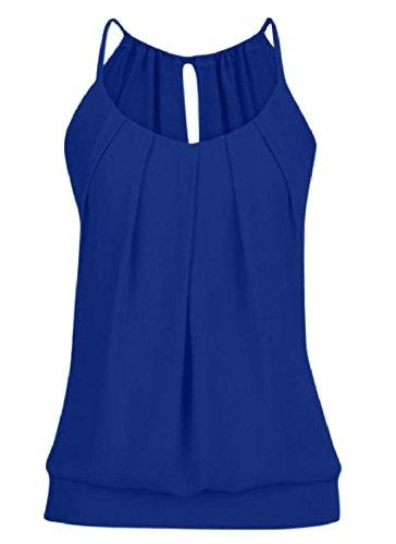 違法群集忌まわしいTootess Women Slim Fit Strappy Solid Color Frill Vest Tank Top Shirt