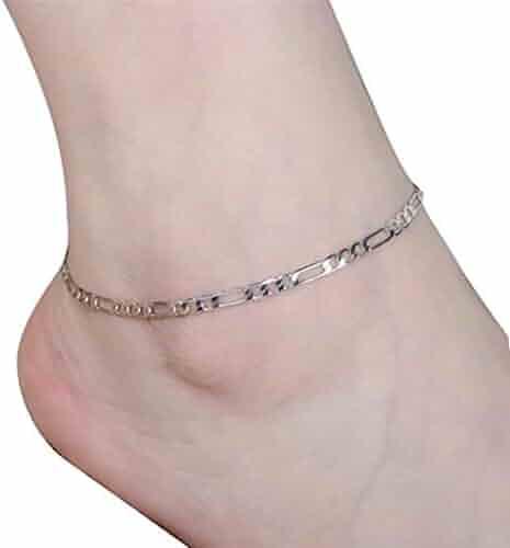 925 Sterling Silver Heart Foot Bracelet Feet Chain Ankle Bracelet Jewelry Gift