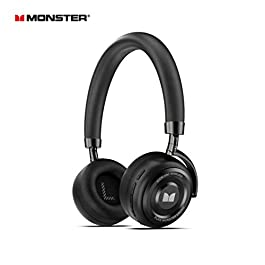 Active Noise Cancelling Headphones, Monster Bluetooth Headphones with Carrying Case, Wireless Headphones with Mic and 30 Hours Playtime for Travel/Work, Black