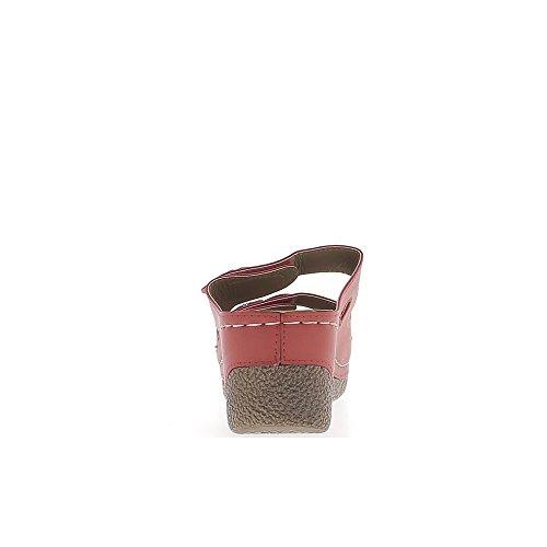 Mules compensées rouges à talon de 7cm et plateau de 3cm brides réglables