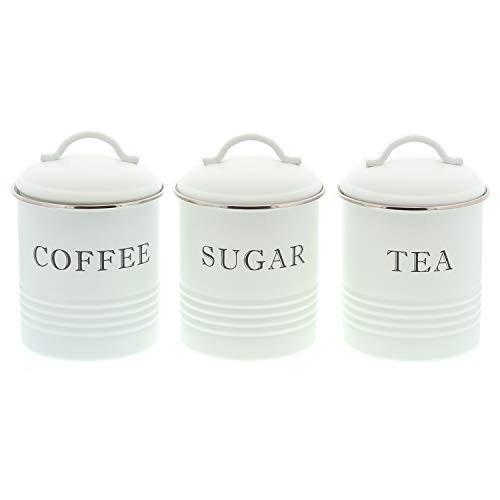 Barnyard Designs Decorative Kitchen Canisters with Lids White Metal Rustic Vintage Farmhouse Country Decor for Sugar Coffee Tea Storage (Set of 3) (Containers Tea And Coffee)