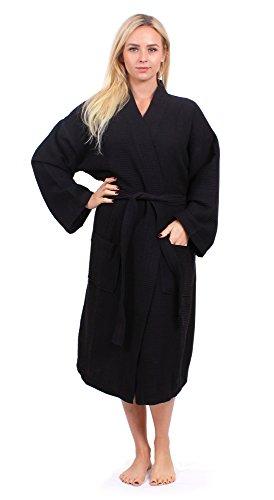 Turkuoise Unisex Plus Size Long Waffle Robe, Polycotton Kimono Bathrobe Made in Turkey Black XXL ()