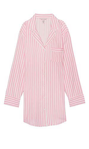 - Victoria's Secret The Flannel Sleepshirt, Pink Stripes Hearts, Medium