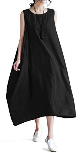 (Vincy Show Women Linen O-Neck Sleeveless Loose Big Swing Long Beach Summer Maxi Dresses (Style A Black))