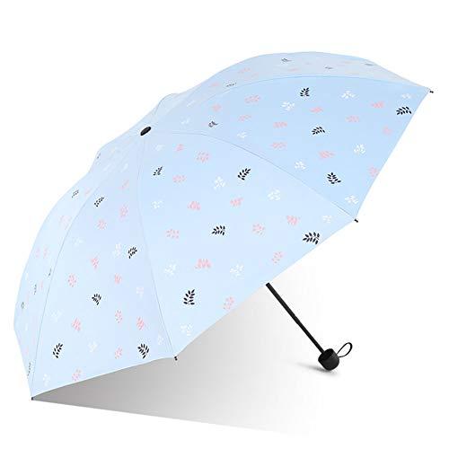 Price comparison product image ZWYY Travel Umbrella,  Light Compact Parasol Manual 3 Folding Rain Umbrella Anti-UV Women's Umbrella Sunny Rainy Umbrella, Blue