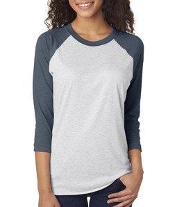 (Next Level Women's Rib Collar 3/4 Sleeve T-Shirt, Indigo/ Heather White, Large)