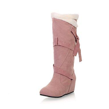 Botas de Mujer Otoño Invierno Comfort polipiel vestido caminando hebilla talón de cuña Black