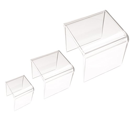 Clear Acrylic Riser Set of Three (3-Inch, 4-Inch, 5-Inch) by Super Z Outlet ()