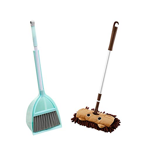 Kids Cleaning Set, Kid's Mini Housekeeping Cleaning Tools, 3pcs Include Mop, Broom, Dustpan (Brown Mop+Frash Blue BroomandDustpan)