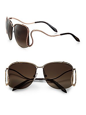 ROBERTO CAVALLI RC725S Metal Sunglasses 725S Female frame 28G -Shiny Rose Gold / Brown Mirror - Cavalli 2013 Sunglasses