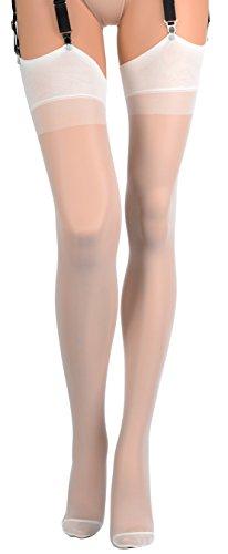 Trasparenze Sara All Sheer Stockings - Made in Italy (Bianco Seta, ()