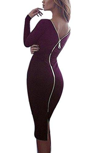 Mujer Vestidos Vestidos De Fiesta De Coctel Elegantes Manga Lindo Chic Larga Cuello Redondo Espalda Descubierta con Cremallera Slim Fit Moda Vestido Fiesta Vestido Coctel Medium Largos Purple