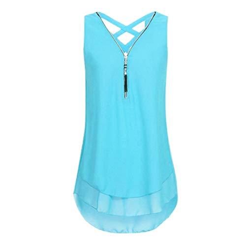 Yknktstc Womens Sleeveless Tank Top Chiffon Double Layers Casual Blouse Tunic Top T Shirt (Style 2-Aqua Blue, X-Large)