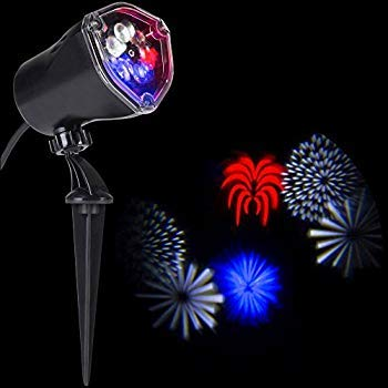 Americana Patriotic Red White & Blue Stars Whirl a Motion LED Projector Light for July 4th! ()