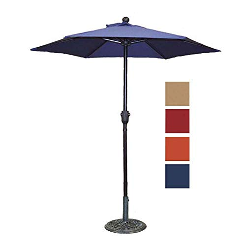 Blue Umbrella Navy Market - Patio Umbrella Outdoor Table Umbrella with 6 Sturdy Ribs and Crank 6 ft, Navy Blue Umbrella
