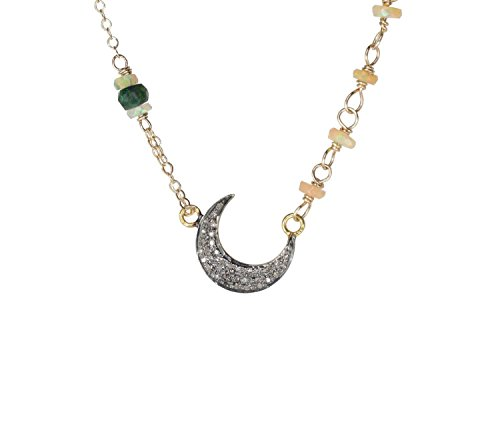 Sideways Pave Diamond Crescent Moon Opal Necklace gold and oxidized silver - 17