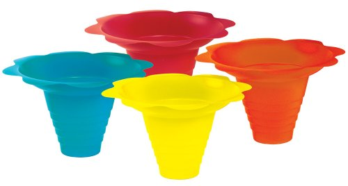 Paragon 8-Ounce Sno-Cone Flower Drip Tray Cups, Multicolor, 100-Cup Case