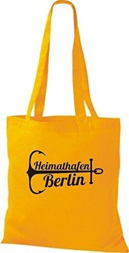 ShirtInStyle Bolsa de tela Bolsa de algodón Puerto Berlín amarillo dorado