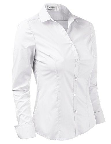 Doublju Womens Slim Fit Business Casual Long Sleeve Button Down Dress Shirt White Medium by Doublju (Image #2)