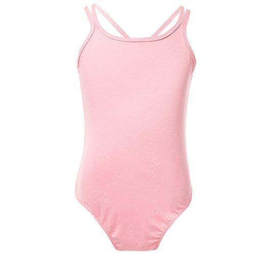 MSemis Girls' Double Strap Camisole Leotard Criss Cross Back Ballet Dance Gymnastics Pink 5-6